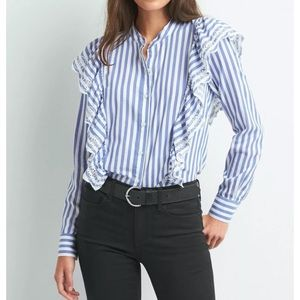 Gap Blue Stripe Button Eyelet Cascade Ruffle Shirt